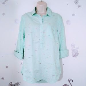 Large Teal Swimmer Novelty Print Half Button Top